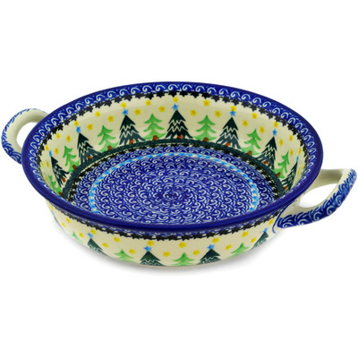 Polish Pottery Round Baker with Handles Medium Christmas Evergreen