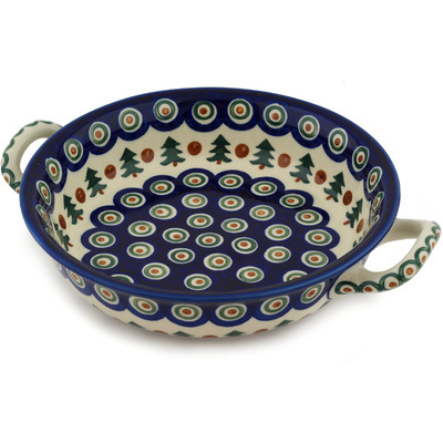 Polish Pottery Round Baker with Handles Medium Cranberries And Evergree