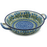 Polish Pottery Round Baker with Handles Medium Feathery Bluebells