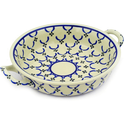 Polish Pottery Round Baker with Handles Medium Garden Lattice