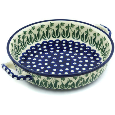 Polish Pottery Round Baker with Handles Medium Garden Pot