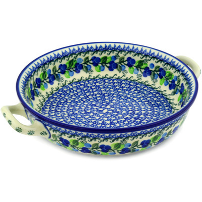 Polish Pottery Round Baker with Handles Medium Limeberry