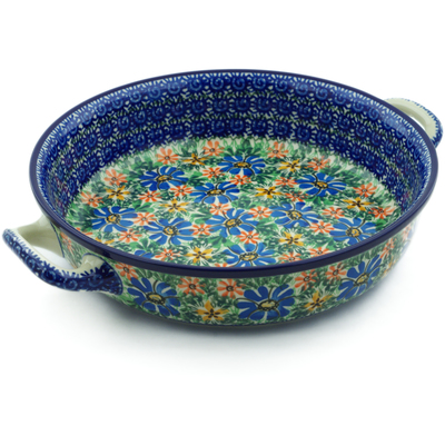 Polish Pottery Round Baker with Handles Medium Profusion UNIKAT