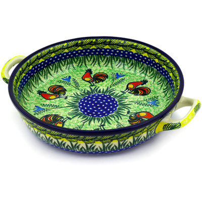 Polish Pottery Round Baker with Handles Medium Rooster Parade UNIKAT