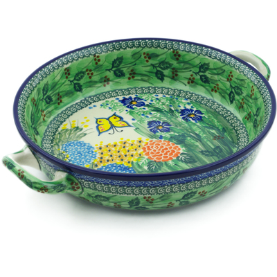 Polish Pottery Round Baker with Handles Medium Spring Garden UNIKAT