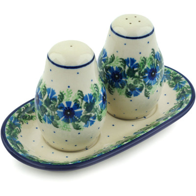 Polish Pottery Salt and Pepper 3-Piece Set Blue Bell Wreath