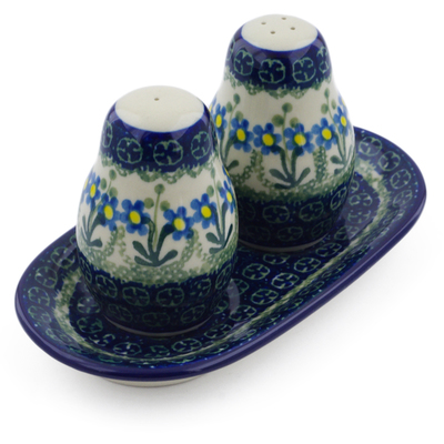 Polish Pottery Salt and Pepper 3-Piece Set Blue Daisy Circle