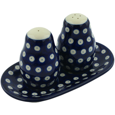 Polish Pottery Salt and Pepper 3-Piece Set Blue Eyes