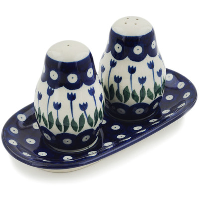 Polish Pottery Salt and Pepper 3-Piece Set Blue Tulip Peacock