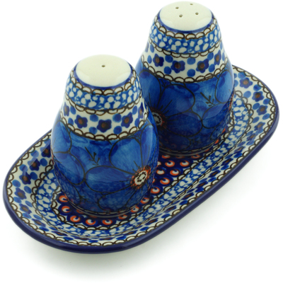 Polish Pottery Salt and Pepper 3-Piece Set Cobalt Poppies UNIKAT
