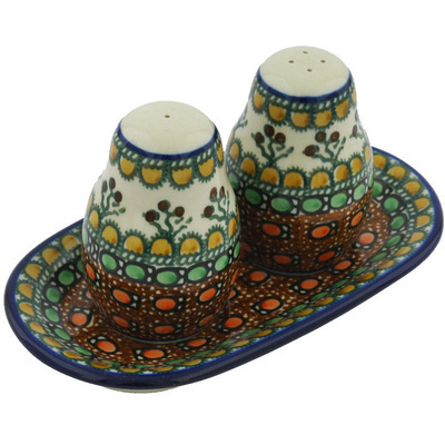 Polish Pottery Salt and Pepper 3-Piece Set Cranberry Medley UNIKAT