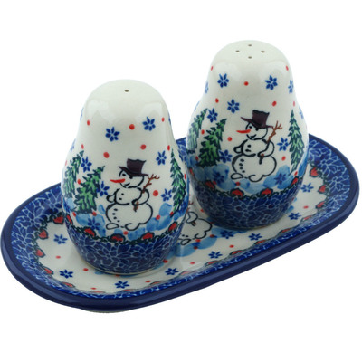 Polish Pottery Salt and Pepper 3-Piece Set Dancing Snowman UNIKAT