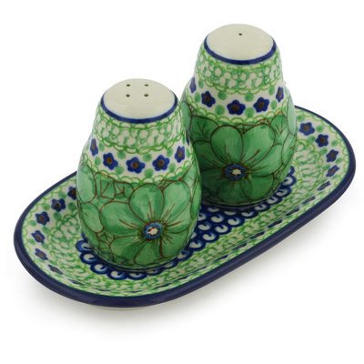 Polish Pottery Salt and Pepper 3-Piece Set Key Lime Dreams UNIKAT