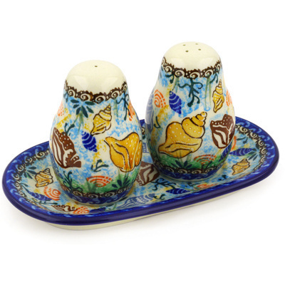 Polish Pottery Salt and Pepper 3-Piece Set Ocean Whisper UNIKAT