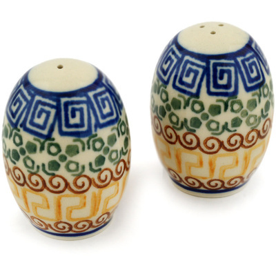 "Polish Pottery Salt and Pepper Set 2"" Mediterranean Sea"