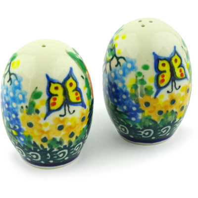 "Polish Pottery Salt and Pepper Set 2"" Spring Garden UNIKAT"