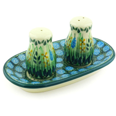 "Polish Pottery Salt and Pepper Set 5"" Prairie Land UNIKAT"
