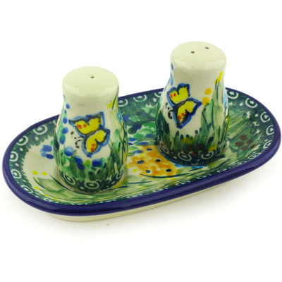 "Polish Pottery Salt and Pepper Set 5"" Spring Garden UNIKAT"