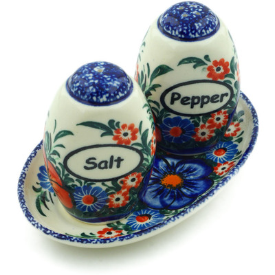 "Polish Pottery Salt and Pepper Set 5"" Summertime Blues UNIKAT"