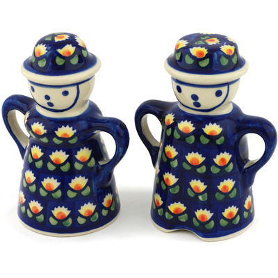 "Polish Pottery Salt and Pepper Set 5"" Waterlily"