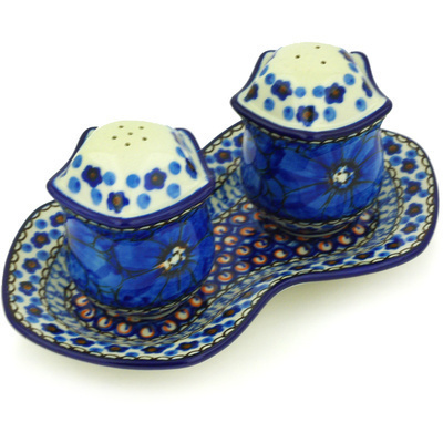 "Polish Pottery Salt and Pepper Set 7"" Cobalt Poppies UNIKAT"