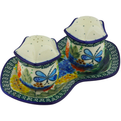 "Polish Pottery Salt and Pepper Set 7"" Garden Delight UNIKAT"