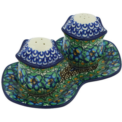 "Polish Pottery Salt and Pepper Set 7"" Mardi Gra UNIKAT"