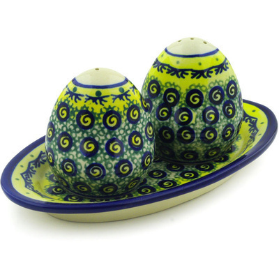 "Polish Pottery Salt and Pepper Set 7"" Peacock Bumble Bee"