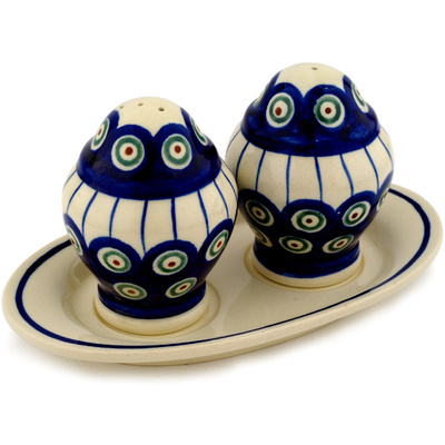 "Polish Pottery Salt and Pepper Set 7"" Traditional Peacock"