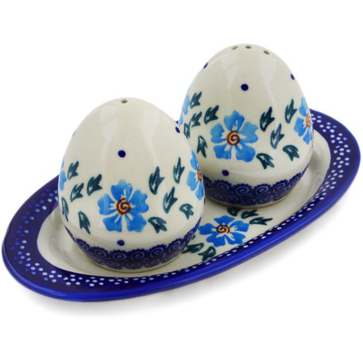 Polish Pottery Salt and Pepper Set Blue Cornflower