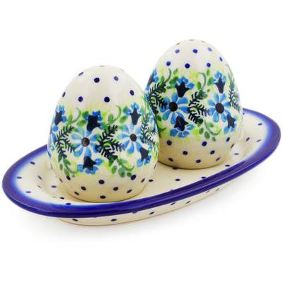 Polish Pottery Salt and Pepper Set Blue Wreath