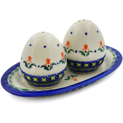Polish Pottery Salt and Pepper Set Cocentric Tulips