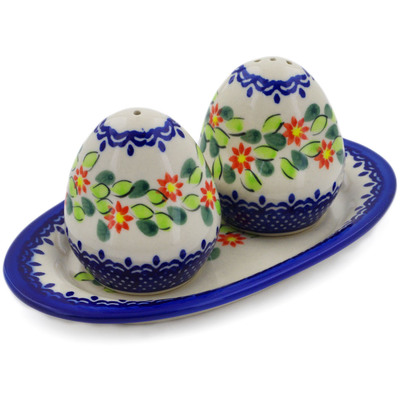 Polish Pottery Salt and Pepper Set Elegant Garland