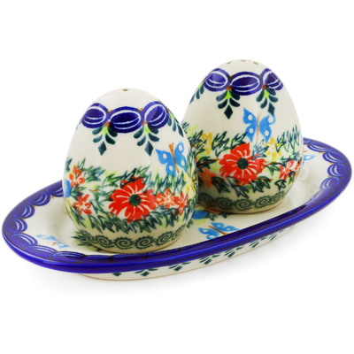 Polish Pottery Salt and Pepper Set Ring Of Flowers UNIKAT