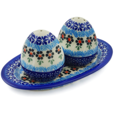 Polish Pottery Salt and Pepper Set Spring Country Trip