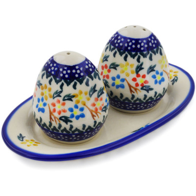 Polish Pottery Salt and Pepper Set Spring Flower Ring