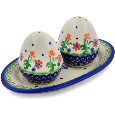 Polish Pottery Salt and Pepper Set Spring Flowers