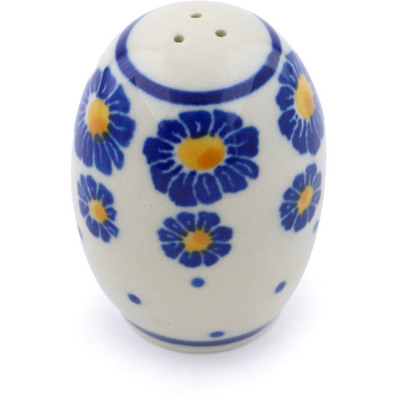 Polish Pottery Salt Shaker 2-inch Blue Zinnia