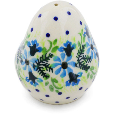 "Polish Pottery Salt Shaker 3"" Blue Wreath"