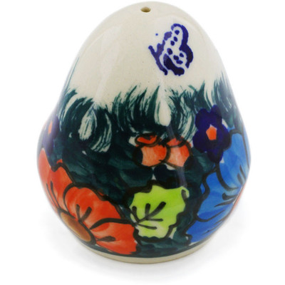 "Polish Pottery Salt Shaker 3"" Butterfly Splendor UNIKAT"