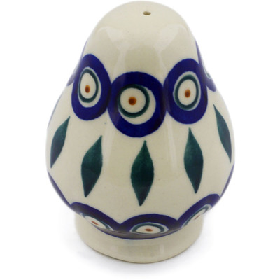 "Polish Pottery Salt Shaker 3"" Peacock"