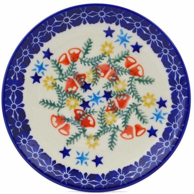 "Polish Pottery Saucer 5"" Wreath Of Bealls"