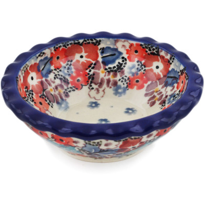 "Polish Pottery Scalloped Bowl 3"" Autumn Bunch UNIKAT"