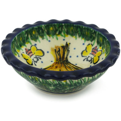 "Polish Pottery Scalloped Bowl 3"" Bee Happy UNIKAT"