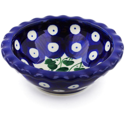 "Polish Pottery Scalloped Bowl 3"" Bleeding Heart Peacock"