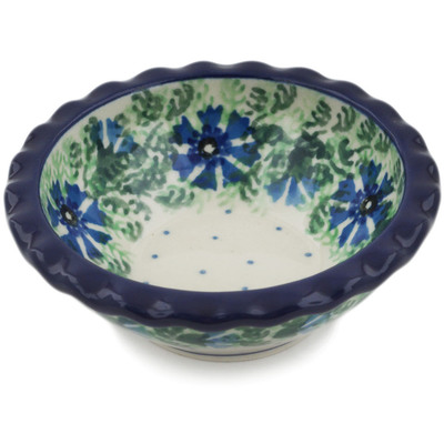 "Polish Pottery Scalloped Bowl 3"" Blue Bell Wreath"