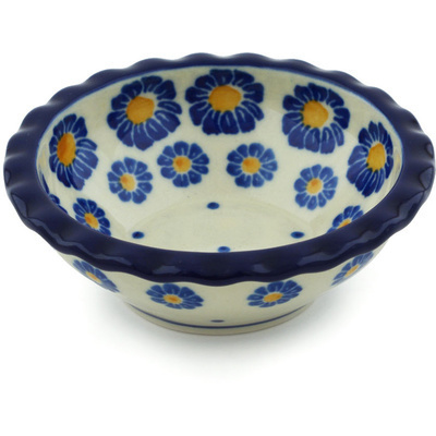 "Polish Pottery Scalloped Bowl 3"" Blue Zinnia"