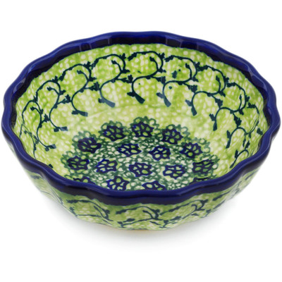 Polish Pottery Scalloped Bowl Small Emerald Forest