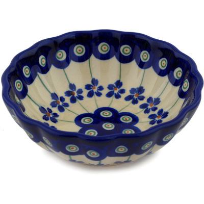 Polish Pottery Scalloped Bowl Small Flowering Peacock