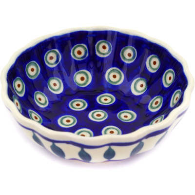 Polish Pottery Scalloped Bowl Small Peacock Leaves